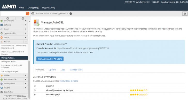 Opções de provedores de certificado SSL no WHM