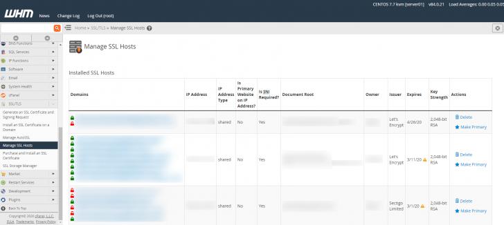 Gerenciamento dos certificados SSL presentes no servidor