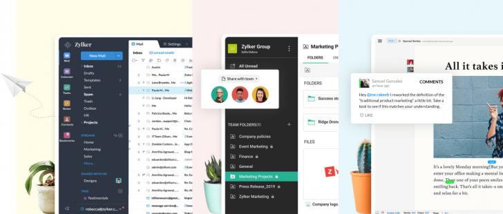 Exemplos de ferramentas colaborativas do Zoho Workplace: e-mail profissional, gerenciador de arquivos e editor de textos