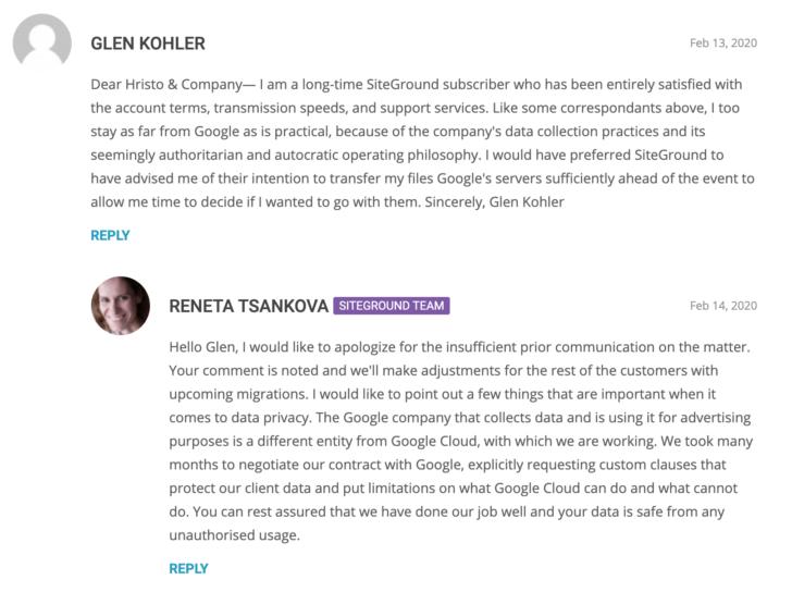 Exemplo de comentário negativo acerca da mudança para a Google Cloud - fonte: blog SiteGround