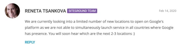 Comentário sobre o lançamento de novas regiões na Google Cloud - fonte: blog SiteGround