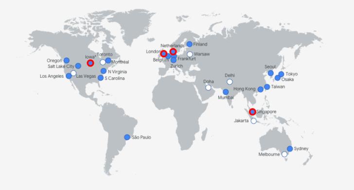 Data centers da Google Cloud com as localizações utilizadas pela SiteGround destacadas em vermelho.