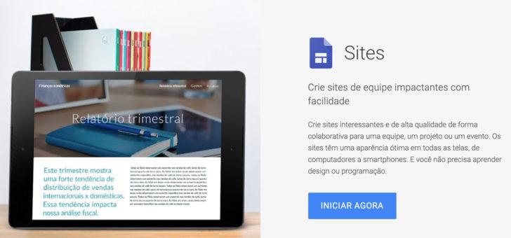 Página de vendas do Google Sites