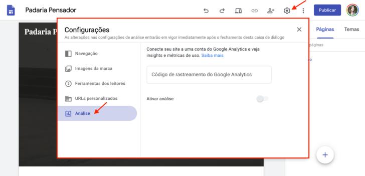 Janela de inserção do código do Google Analytics no Google Sites