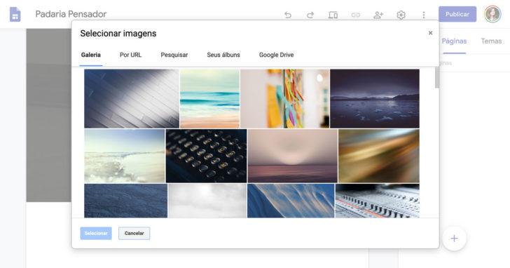 Galeria de imagens é um dos recursos úteis para criar um site grátis no Google Sites