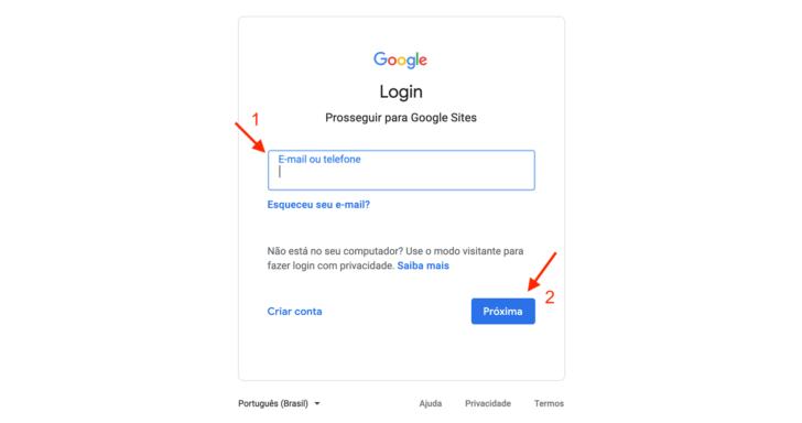 O primeiro passo é acessar a ferramenta Google Sites