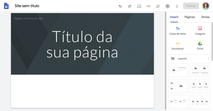 Modelo em branco utilizado para criar um site no Google Sites