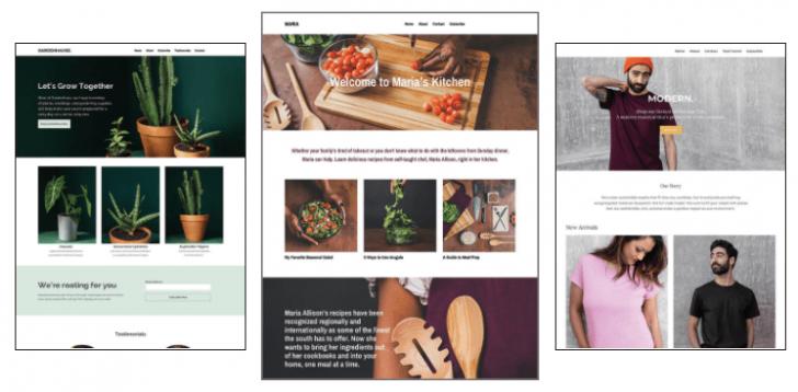 Exemplos de sites criados pela ferramenta da Mailchimp