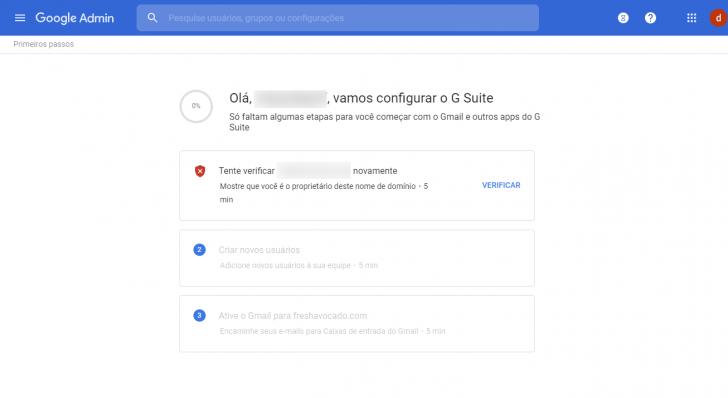 Assistente de configuração com os três passos iniciais de configuração do G Suite