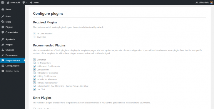 A configuração automática de plugins também está presente em um tema pago no WordPress