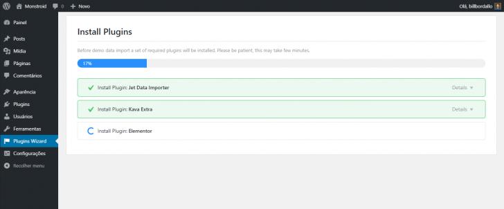 Processo de instalação de plugins em andamento ao rodar o assistente do Monstroid2