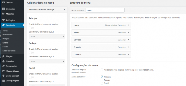 Menu principal pré-configurado no Monstroid2