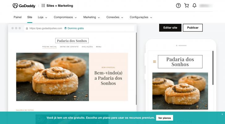 Edição do site no painel Sites + Marketing da GoDaddy