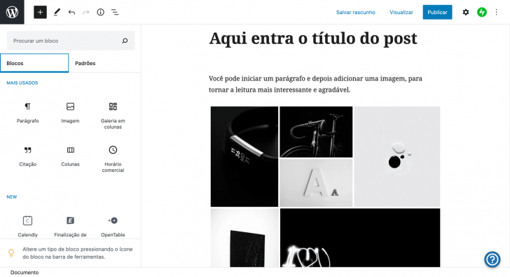 Tela de edição de post dentro do WordPress.com