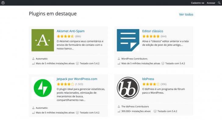 Lista de plugins disponíveis no WordPress