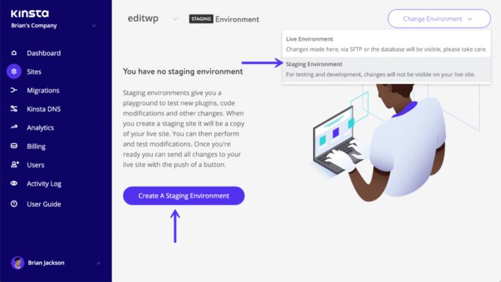 A hospedagem WordPress da Kinsta oferece a criação de ambientes de teste pelo painel de controle - Imagem: Kinsta