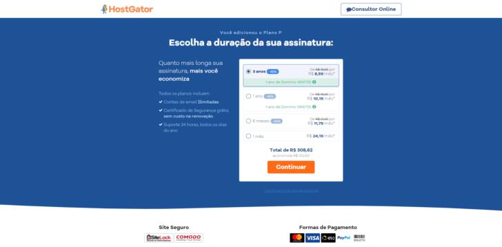 Escolha do ciclo de pagamento no carrinho de compras da HostGator