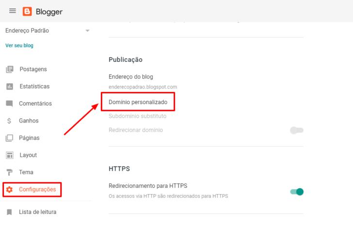 Tela de configuração de domínio no painel do Blogger