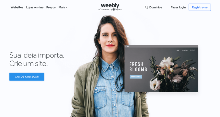 Captura de tela do site Weebly