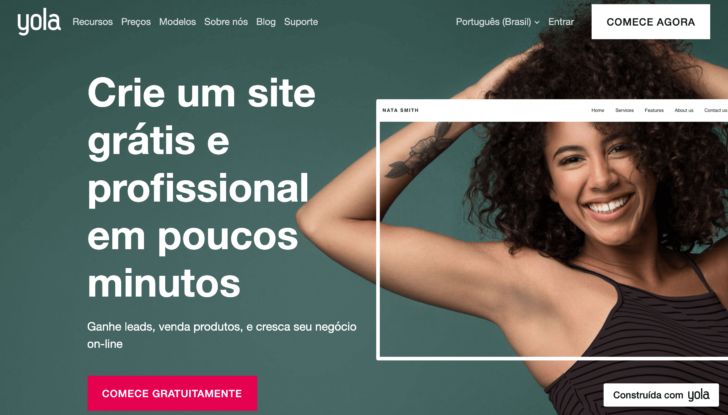 Captura de tela do site Yola