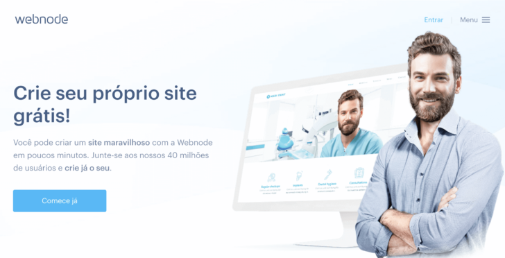 Captura de tela do site da Webnode