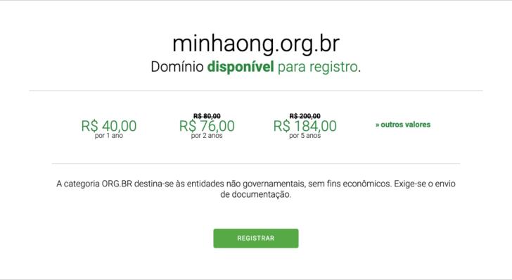 Domínio .org.br custa R$ 40 por ano no site do Registro.br