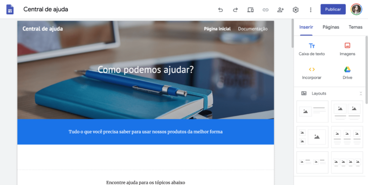 Captura de tela do editor do Google Sites