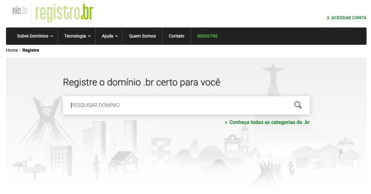 Página de registro de domínio no Registro.br