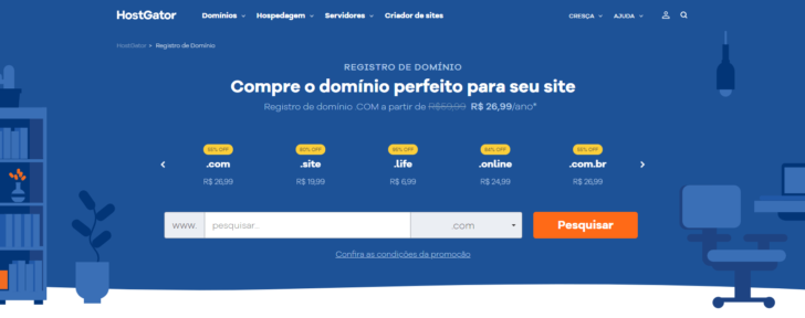 HostGator é uma das mais baratas para registrar um domínio .com