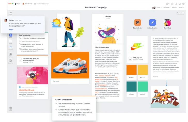 O Milanote permite inserir e organizar conteúdos diversos