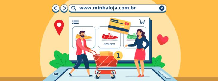 Ilustração de um casal realizando compras em uma loja virtual