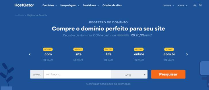 Página de registro de domínios no site da HostGator