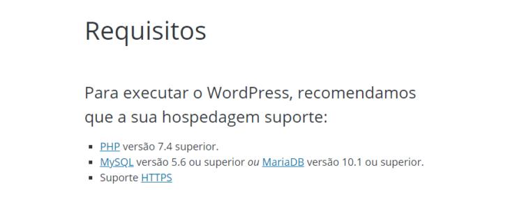 Página com as recomendações para instalação do WordPress - Fonte: WordPress.org