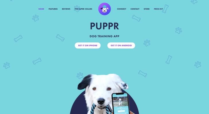 Aplicativo de treinamento de cães Puppr usa o .app em seu site