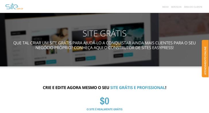O Site.com.br permite criar site grátis