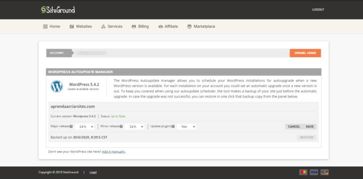 As atualizações automáticas do SiteGround podem ser configuradas facilmente e o sistema de recuperação de versões anteriores é extremamente fácil de usar - Imagem: captura de tela do painel SiteGround