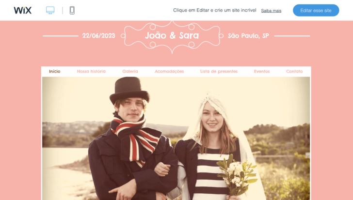 Template gratuito do Wix para site de casamento
