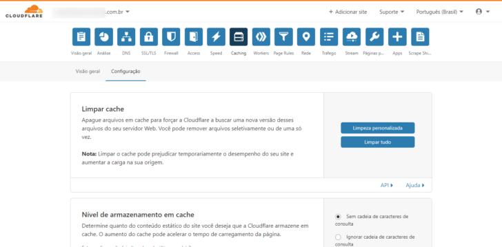 É possível renovar o cache das páginas individualmente ou do site inteiro