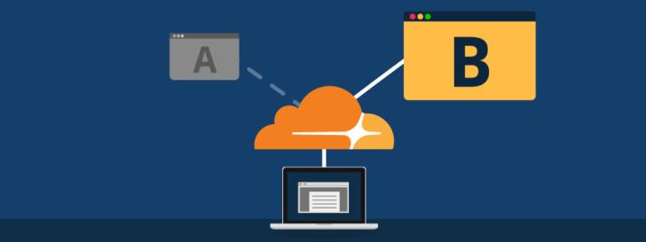 Ilustração de um computador sendo redirecionado pelo CloudFlare