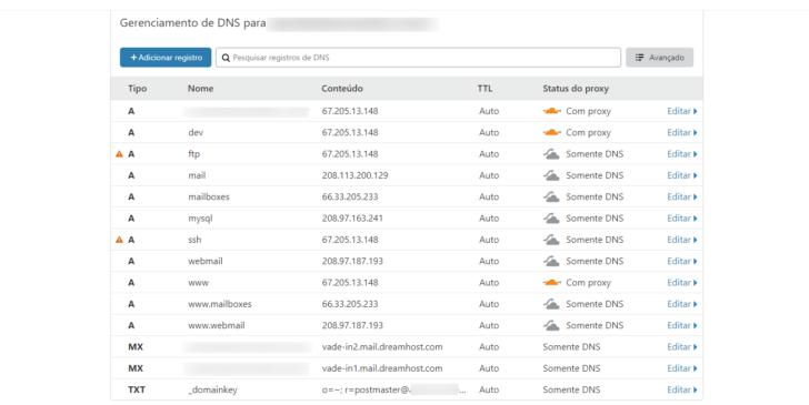 Tela de gerenciamento de entradas DNS no painel de controle
