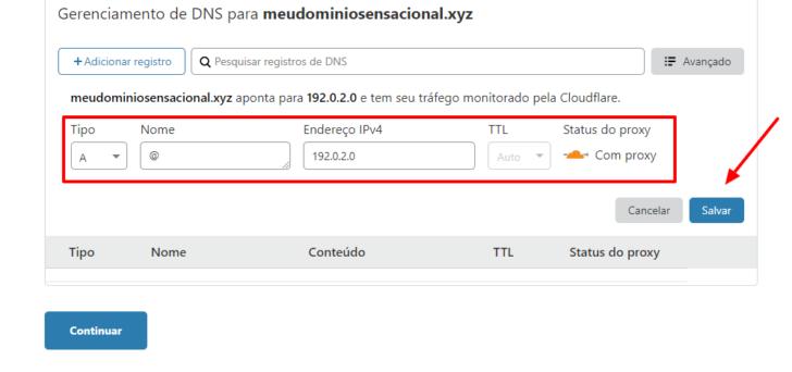 Após preencher os campos, clique em Salvar para adicionar o registro na zona de DNS