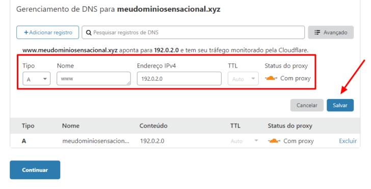 Repita o procedimento para inserir o registro www na zona de DNS do domínio