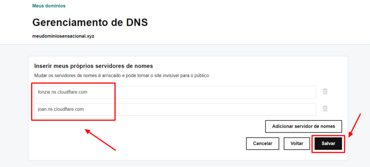Na tela de edição de DNS, faço a inserção dos nameservers fornecidos pelo CloudFlare