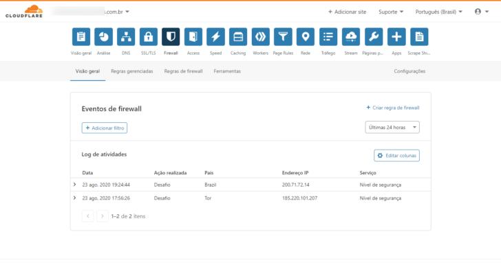 A aba Firewall permite visualizar ameaças e gerenciar aspectos de segurança