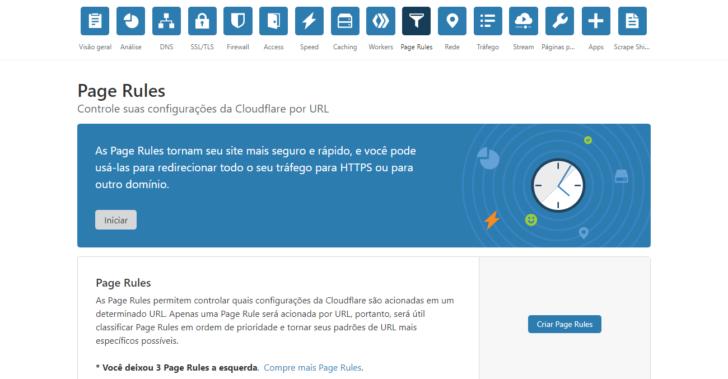 Visão inicial da página Page Rules, no painel do CloudFlare