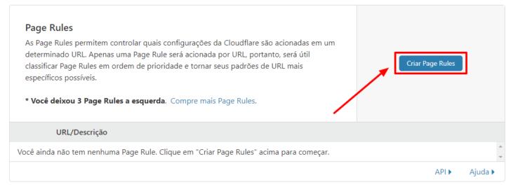 Clique no botão Criar Page Rules para iniciar a configuração do redirecionamento no CloudFlare