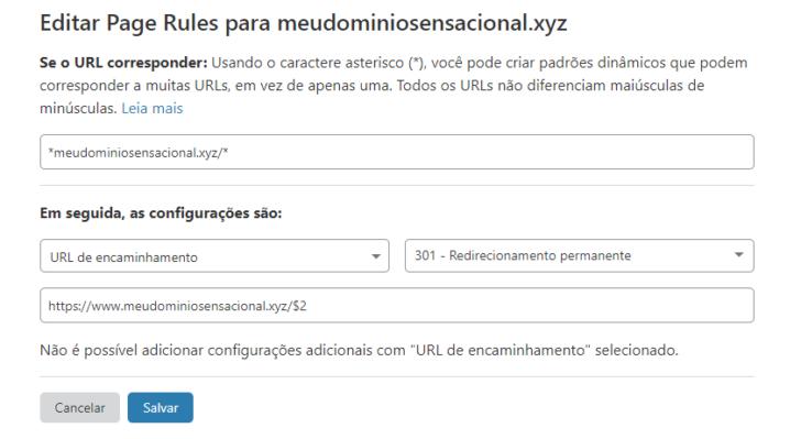 Exemplo de redirecionamento para o mesmo domínio, com o objetivo de forçar o carregamento das páginas usando HTTPS