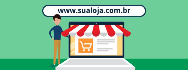 Ilustração de um domínio para loja virtual
