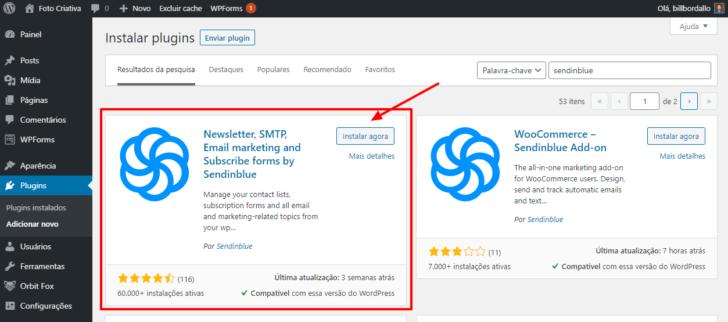 Painel do WordPress com o plugin Sendinblue selecionado para instalação