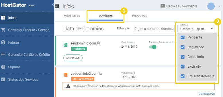 Seção de domínios no painel de cliente da HostGator